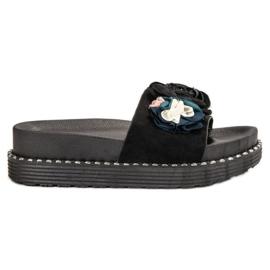 Bello Star noir Pantoufles sur plate-forme