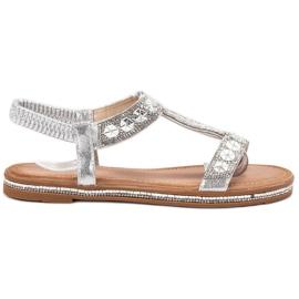 Bello Star gris Sandales en argent décorées