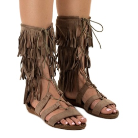 Sandales spartiates taupe D-41