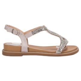 Bello Star gris Sandales en daim avec cristaux