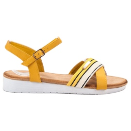 Bello Star jaune Sandales attachées avec une boucle