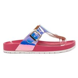 Ideal Shoes rose Tongs Avec Effet Holo