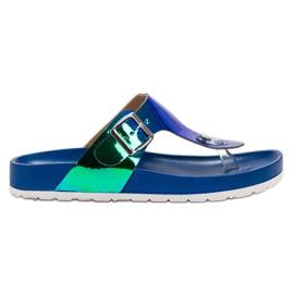 Ideal Shoes bleu Tongs Avec Effet Holo