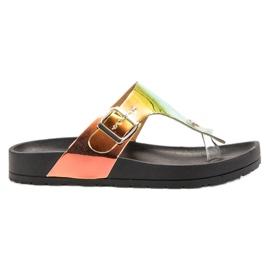 Ideal Shoes noir Tongs Avec Effet Holo