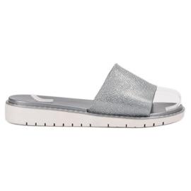 Fashion gris Tongs brillantes à la mode
