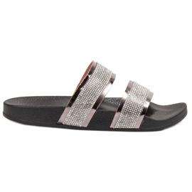 Ideal Shoes gris Pantoufles Femme Avec Zircons