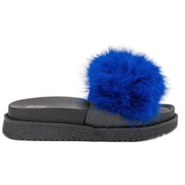 SHELOVET Pantoufles Avec Fourrure bleu