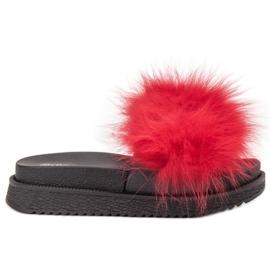 SHELOVET Pantoufles Avec Fourrure rouge