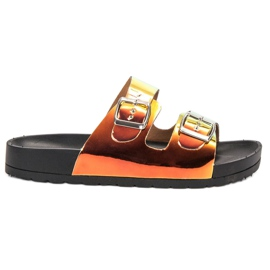 Ideal Shoes jaune Pantoufles avec boucle holo