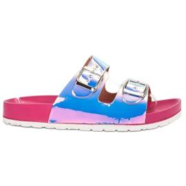 Ideal Shoes gris Pantoufles avec boucle holo