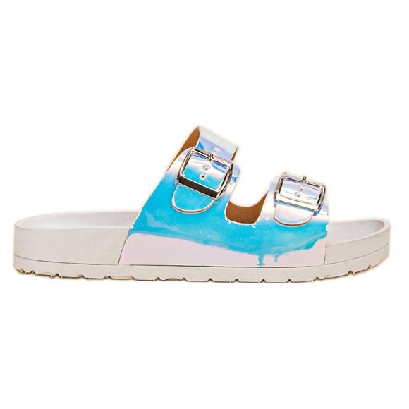 Ideal Shoes Pantoufles avec boucle holo gris