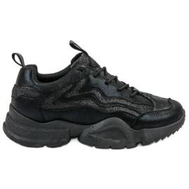 SHELOVET noir Baskets à paillettes