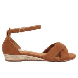 Sandales Espadrilles Marron 9R121 Camel brun