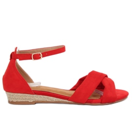Sandales Espadrilles Rouge 9R121 Rouge