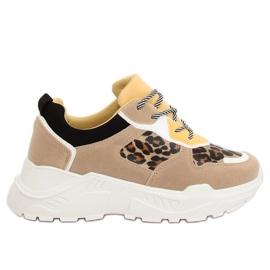 Brun LV88P Chaussures de sport léopard beiges