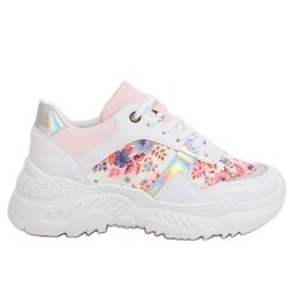 Chaussures de sport à fleurs blanches 3002 WHITE / FLOWER Red