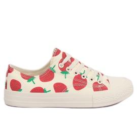 Brun Baskets beiges fraises XL-21 Beige
