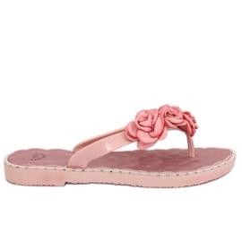 Tongs avec fleurs roses YJL-1818 Pink