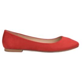 Small Swan Ballerine en daim rouge