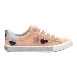 Kylie orange Sneakers Avec Brocade