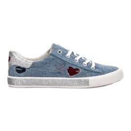 Kylie bleu Sneakers Avec Brocade