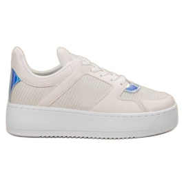Ideal Shoes blanc Sneakers Avec Brocade