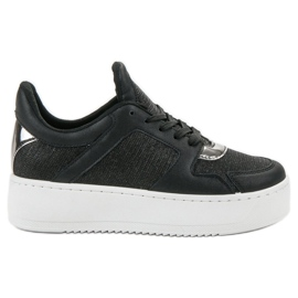 Ideal Shoes noir Sneakers Avec Brocade