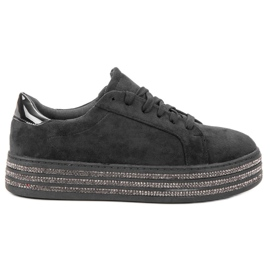 Bestelle noir Chaussures de sport en daim