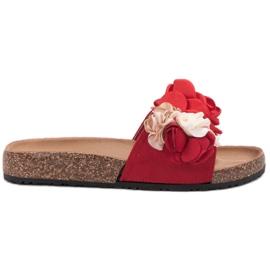 SHELOVET rouge Pantoufles avec des fleurs
