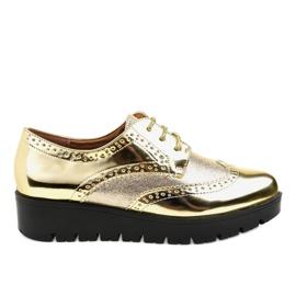 Jaune Chaussures à lacets dorées TL-60