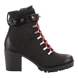 Vinceza Travailleurs à la mode à lacets noir