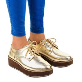 Jaune Chaussures à lacets élégantes dorées 2017-1