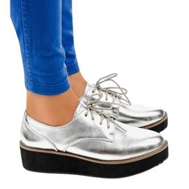 Chaussures à lacets élégantes argentées 2017-1 gris