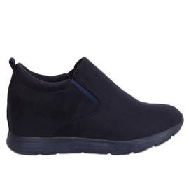 Chaussures sur un talon compensé bleu marine ZY-7K67 Bleu