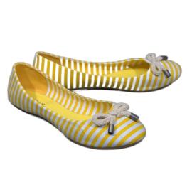 Ballerines à rayures avec un arc jaune de 16 cm