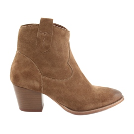Bottes de cowboy Anabelle 1466 en daim camel brun