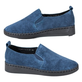 Filippo bleu Baskets en cuir à enfiler