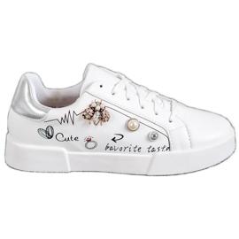 Bestelle blanc Chaussures de sport avec ornements