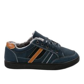 Marine Sneakers bleu foncé pour hommes avec fourrure E753M-2