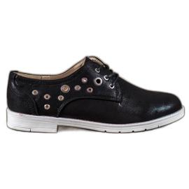 SHELOVET noir Chaussures nouées avec cuir écologique