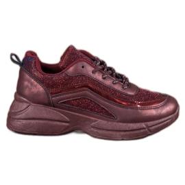SHELOVET rouge Chaussures de sport brillantes