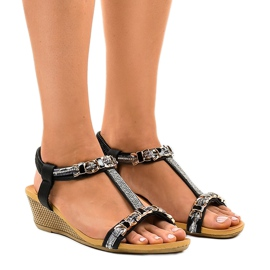 Sandales compensées noires à crampons 9-59