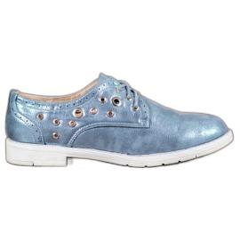 SHELOVET bleu Chaussures nouées avec cuir écologique