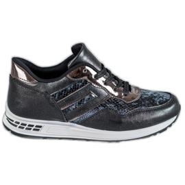 SHELOVET noir Snake Print Sneakers