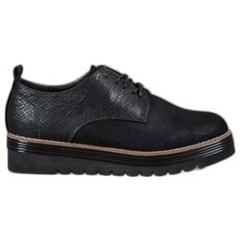 SHELOVET noir Chaussures sur la plate-forme d'impression de serpent