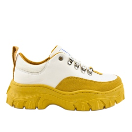 Chaussures de sport pour femmes à la mode blanches et jaunes PF5329