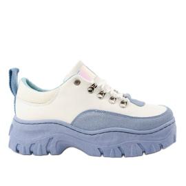 Chaussures de sport pour femme PF5329 blanches et bleues