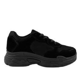 Chaussures de sport en daim noires R-372 pour femmes