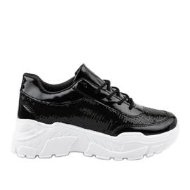 Chaussures de sport noires à paillettes W-3118