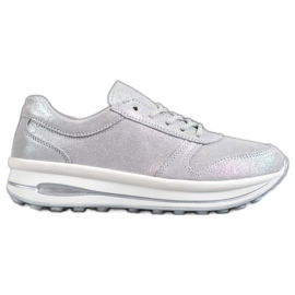 VINCEZA Chaussures en cuir glitter gris